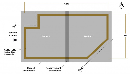 Calepinage toiture plate EPDM avec coupe