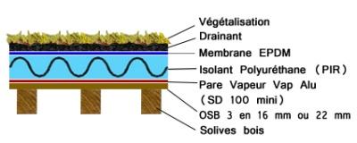 Fabrication et isolation d 39 une maison ossature bois - Coupe toiture vegetalisee ...