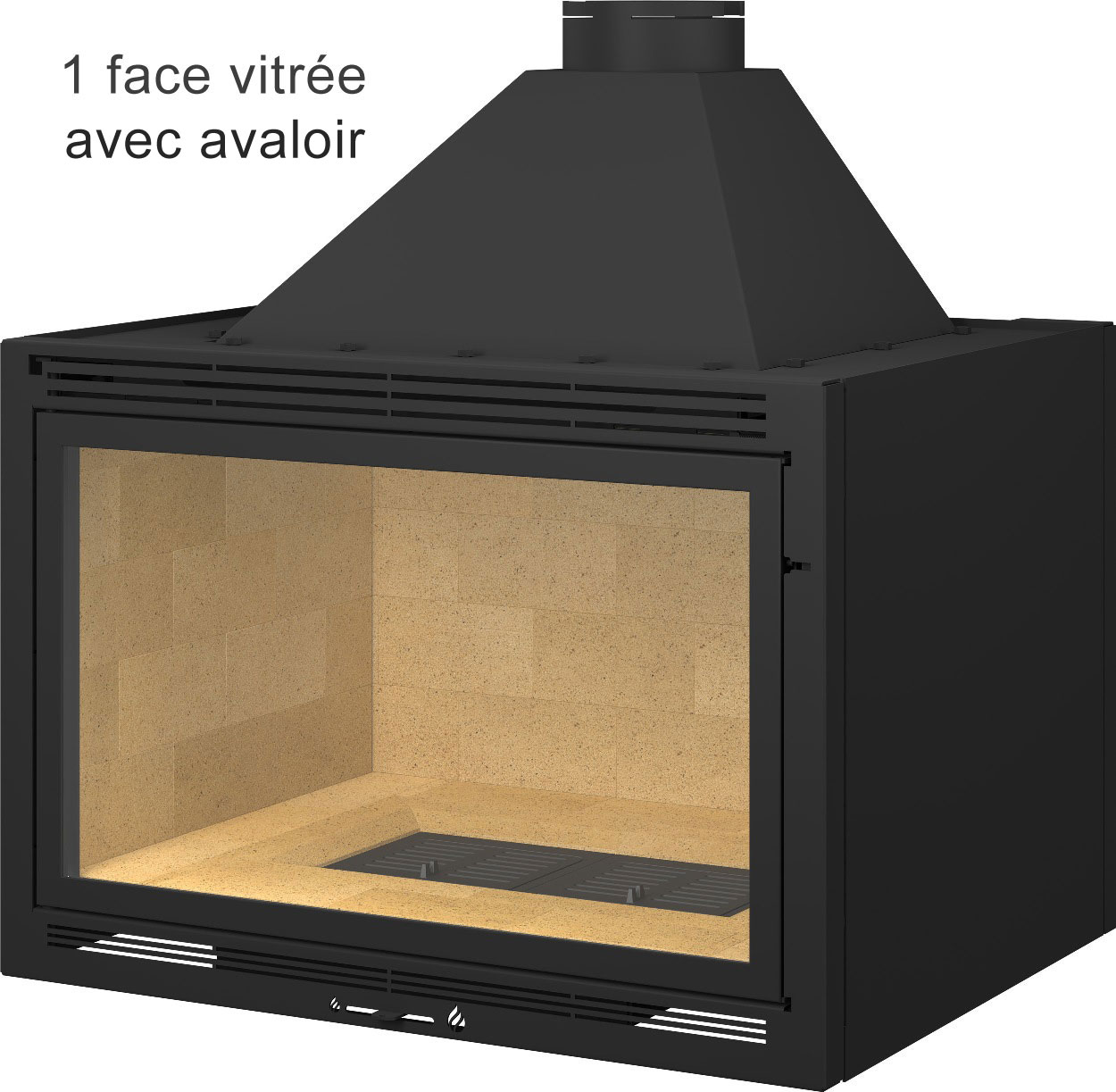 insert de chemin e sur mesure 600 l x500 h x500 p 3 vitres 10kw acheter au meilleur prix. Black Bedroom Furniture Sets. Home Design Ideas